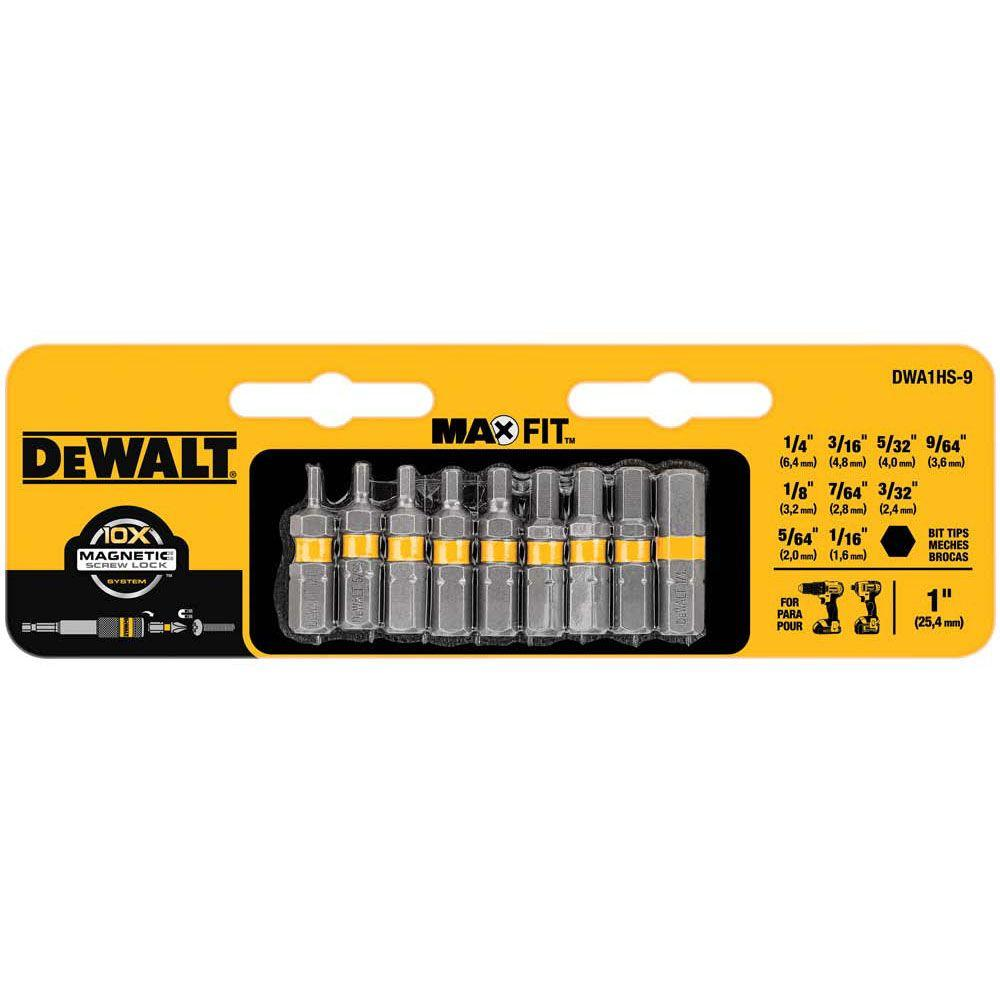 1 in. Hex Bit Tip Screw Driving Set (9-Piece)