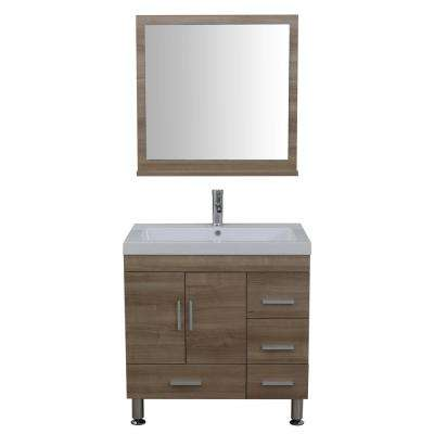 The Modern 29.37 in. W x 19 in. D Bath Vanity in Light Oak with Acrylic Vanity Top in White with White Basin and Mirror