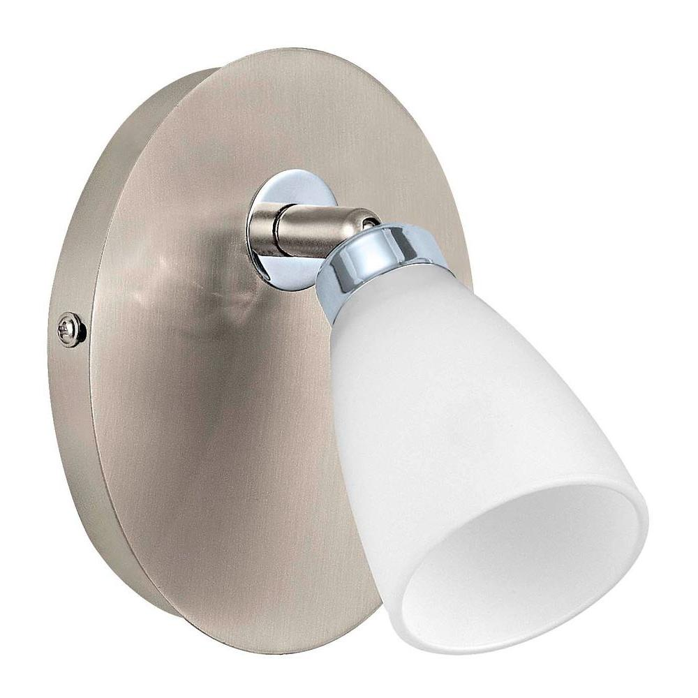 Eglo Cariba 1-Light Matte Nickel Surface Mount Wall Light with Chrome Accents and On/Off Switch