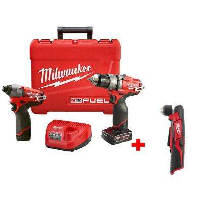 M12 FUEL 12-Volt Lithium-Ion Brushless Cordless Hammer Drill/Impact Combo Kit with Free M12 3/8 in. Right Angle Drill
