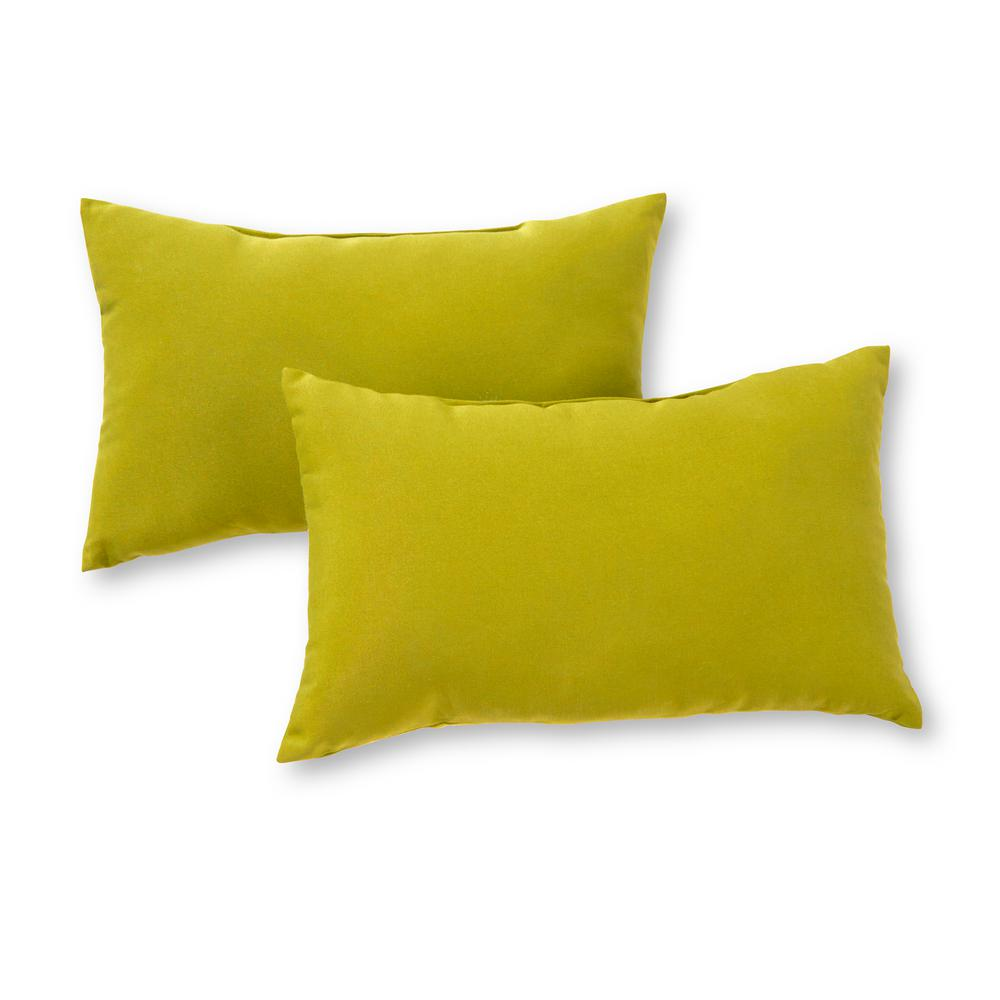 Greendale Home Fashions Solid Kiwi Green Lumbar Outdoor Throw Pillow 2 Pack Oc5811s2 Kiwi The Home Depot