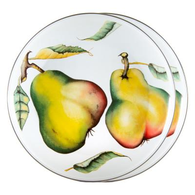 12.5 in. Fresh Produce Enamelware Round Chargers (Set of 2)