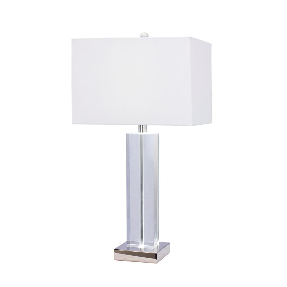 27 in. Clear Crystal and Polished Nickel Metal Table Lamp with