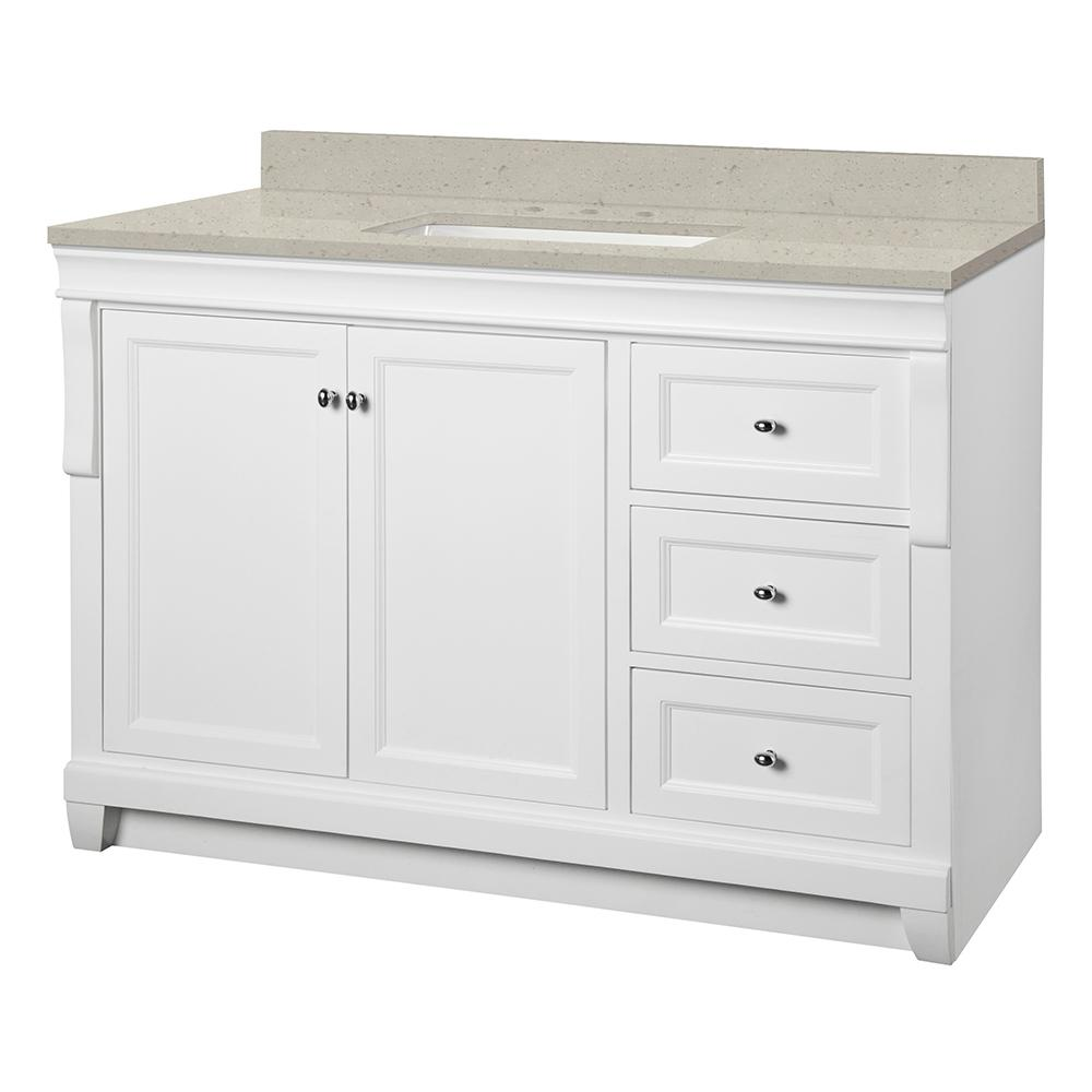 Home Decorators Collection Naples 49 in. W x 22 in. Bath Vanity Cabinet in White with Engineered Quartz Vanity Top in Stoneybrook with White Sink