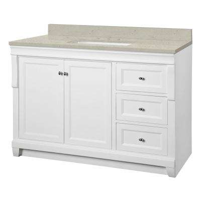 Naples 49 in. W x 22 in. Bath Vanity Cabinet in White with Engineered Quartz Vanity Top in Stoneybrook with White Sink