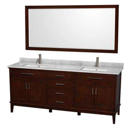 Hatton 80 in. Vanity in Dark Chestnut with Marble Vanity Top in Carrara White, Square Sink and 70 in. Mirror