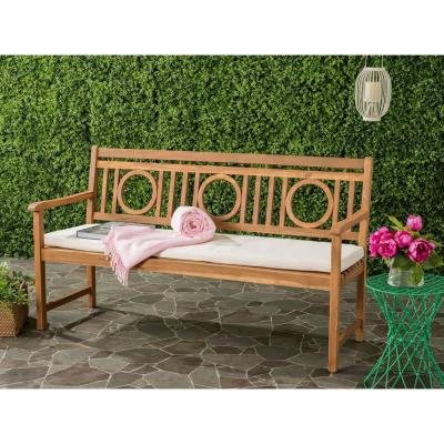 Montclair Outdoor 3 Seat Acacia Patio Bench with Beige Cushions