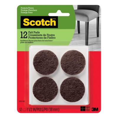 Scotch 1.5 in. Brown Round Surface Protection Felt Floor Pads (12-Pack)