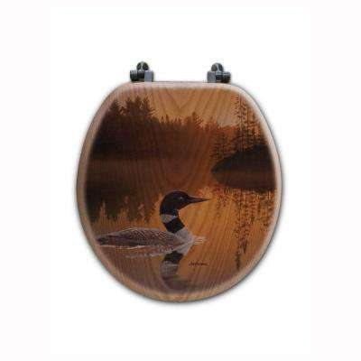 Stone Island Loon Round Closed Front Wood Toilet Seat in Oak Brown