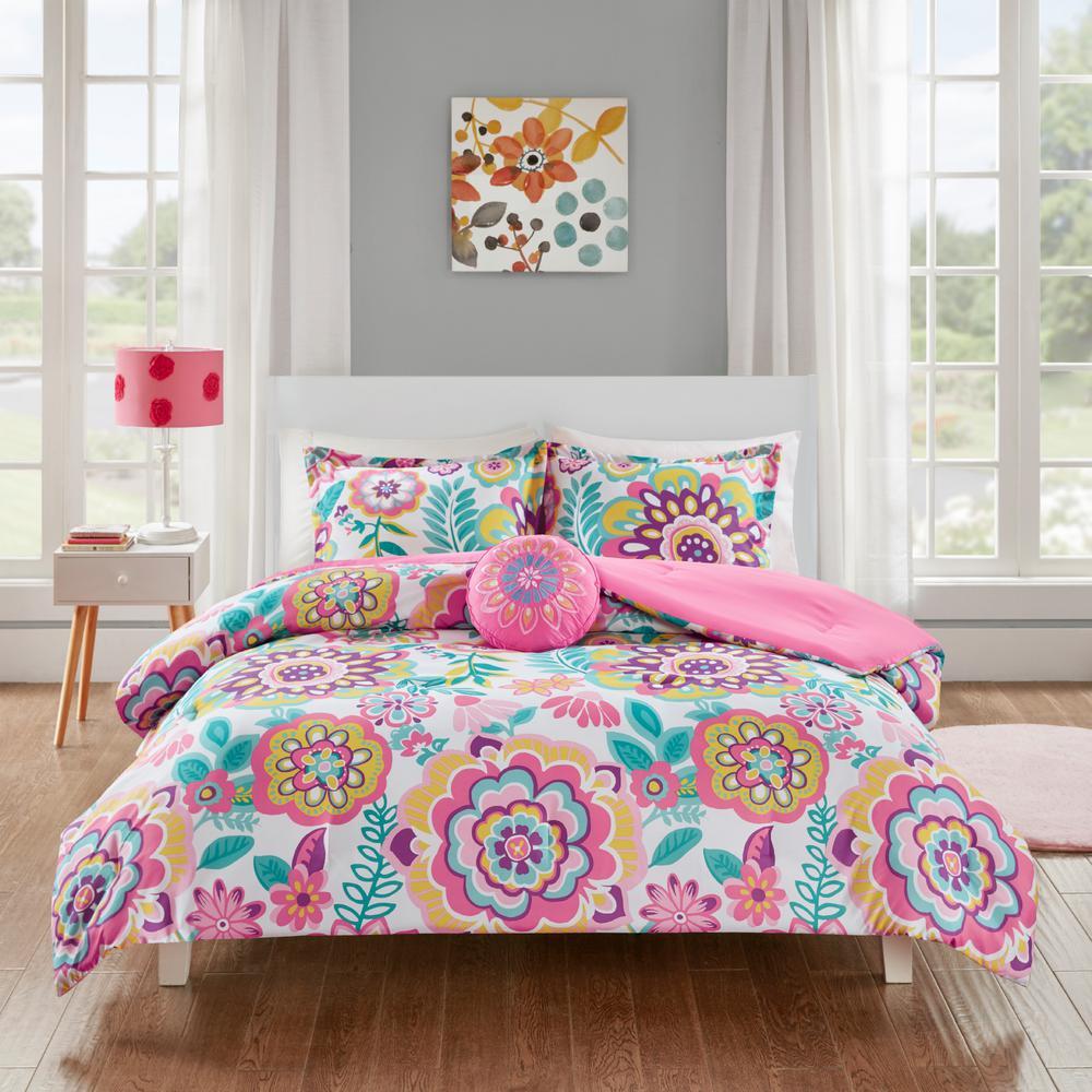 Corinne 4-Piece Pink Full/Queen Comforter Set