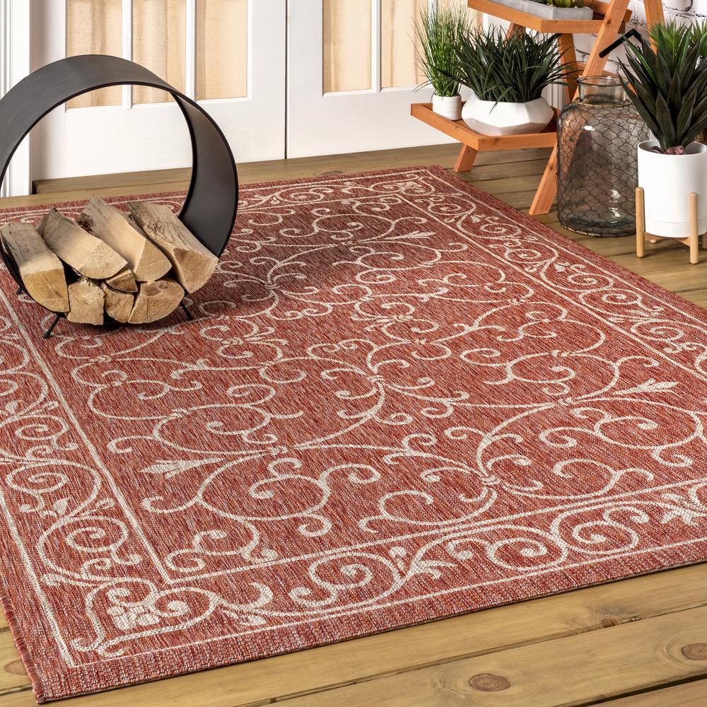 Charleston Vintage Filigree Red/Beige 7 ft. 9 in. x 10 ft. Textured Weave Indoor/Outdoor Area Rug