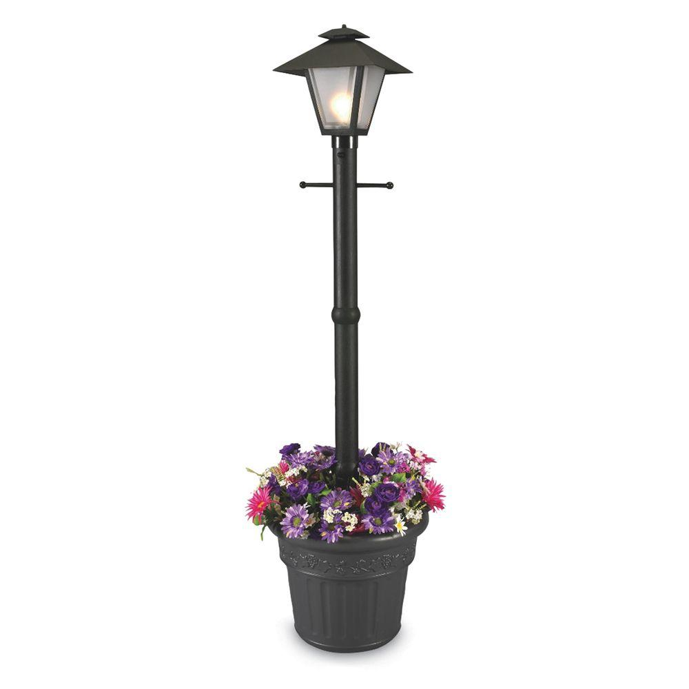 Great Patio Living Concepts Cape Cod Plug In Outdoor Black Post Lantern With  Planter 66000   The Home Depot