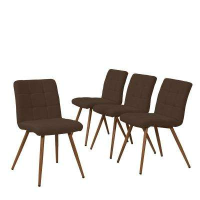 Windsor 5-Piece Chocolate Brown Linen Rectangle Table and Armless Upholstered Dining Chairs