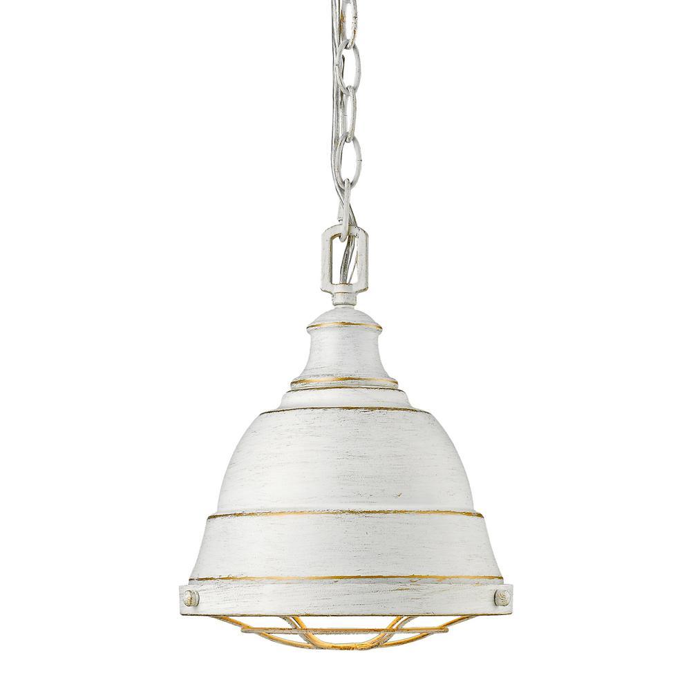 Golden Lighting Bartlett 1 Light French White Pendant