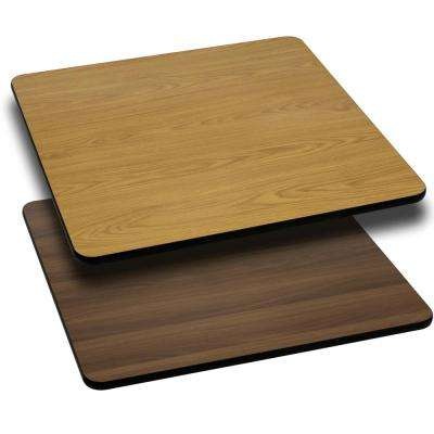 36 in. Square Natural and Walnut Table Top with Reversible Laminate Top