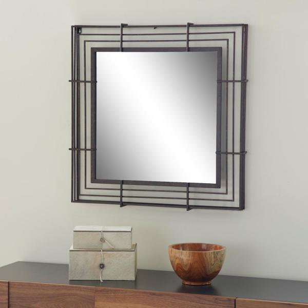 Litton Lane Square Wrought Iron Textured Bronze Wall Mirror