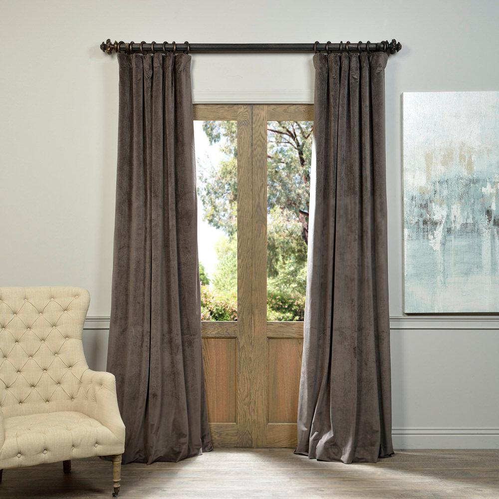 Exclusive Fabrics U0026 Furnishings Blackout Signature Gunmetal Grey Blackout  Velvet Curtain   50 In. W