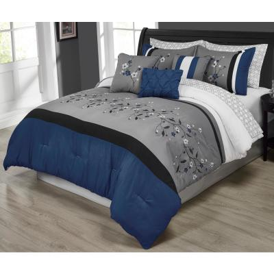 MHF Home Tori Embroidered 10-Piece Blue Queen Comforter Set