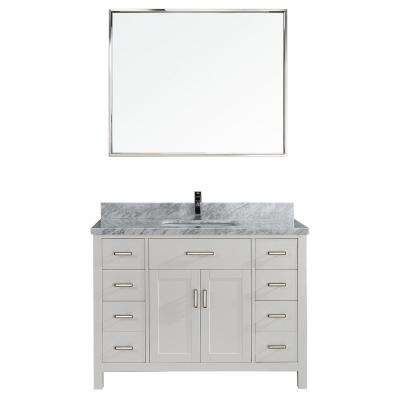 Kalize II 48 in. W x 22 in. D Vanity in White with Marble Vanity Top in Gray with White Basin and Mirror