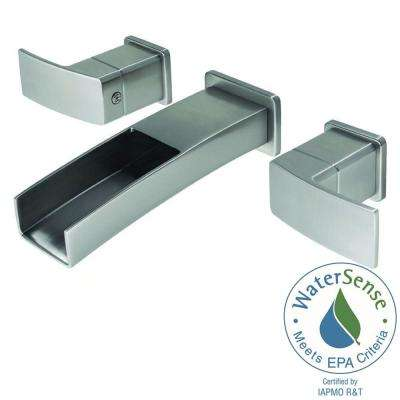 Kenzo 2-Handle Wall Mount Bathroom Faucet Trim Kit in Brushed Nickel with Waterfall Spout (Valve Not Included)