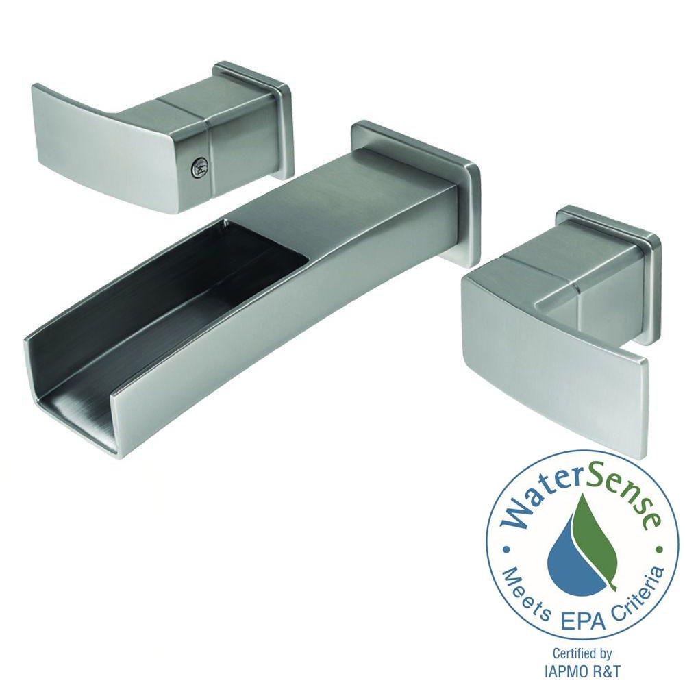 Water Creation Wall Mount 2 Handle Elegant Spout Bathroom