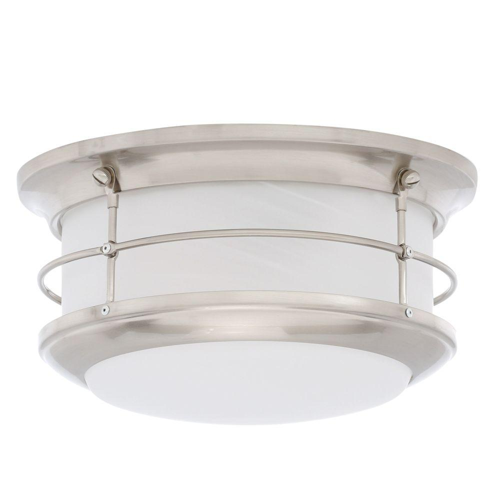 Thomas Lighting Newport Brushed Nickel 2 Light Outdoor Flushmount SL928378    The Home Depot