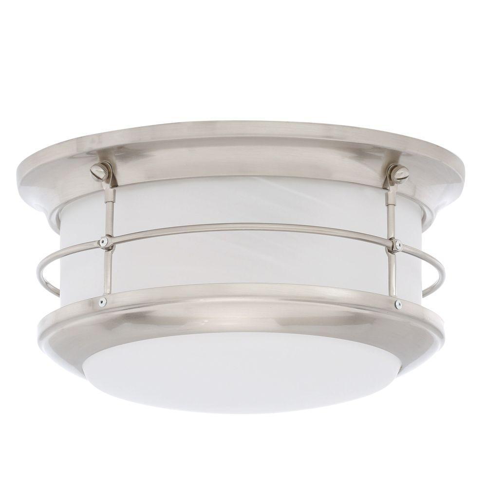 Newport 2-Light Brushed Nickel Outdoor Flush mount