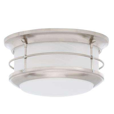 Newport Brushed Nickel 2-Light Outdoor Flushmount