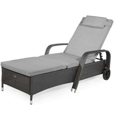 Hampshire Patio Plastic Outdoor Lounge Chair with Gray Cushion