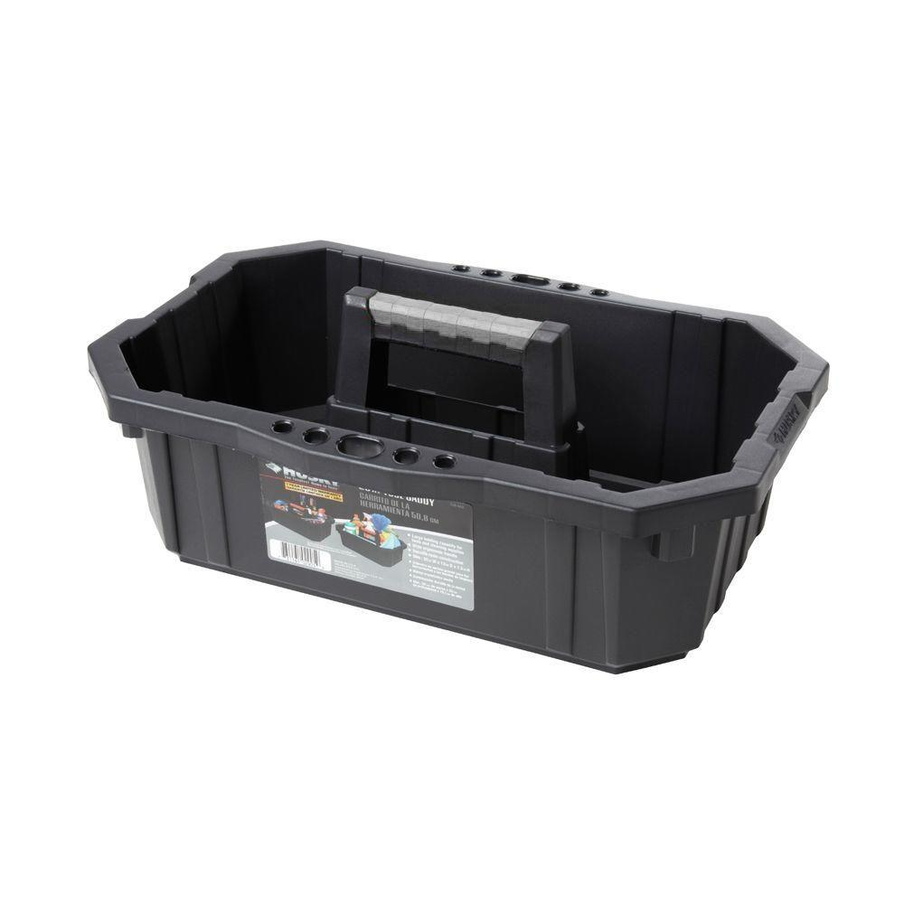 Husky 1-Compartment Black Tool Caddy Small Parts Organizer (2-Pack)