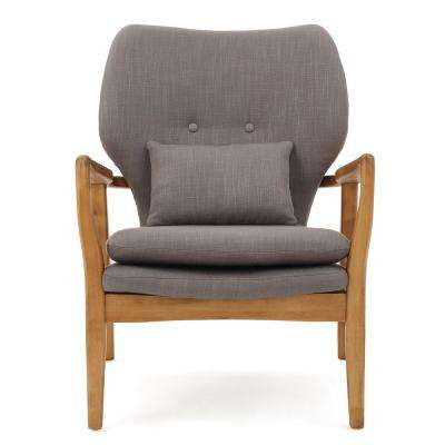 Haddie Button Back Gray Fabric Club Chair with Wooden Frame