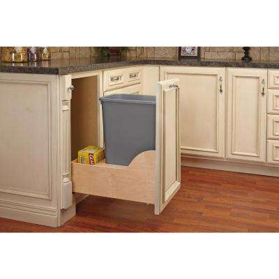 Single 35 Qt. Pull-Out Bottom Mount Wood and Silver Waste Container with Soft-Close Slides