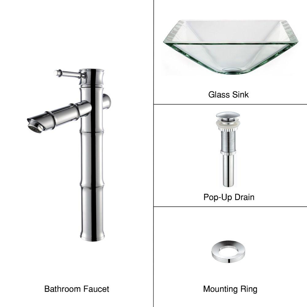 KRAUS Glass Bathroom Sink in Clear Aquamarine with Single Hole 1-Handle Low Arc Bamboo Faucet in Chrome-DISCONTINUED