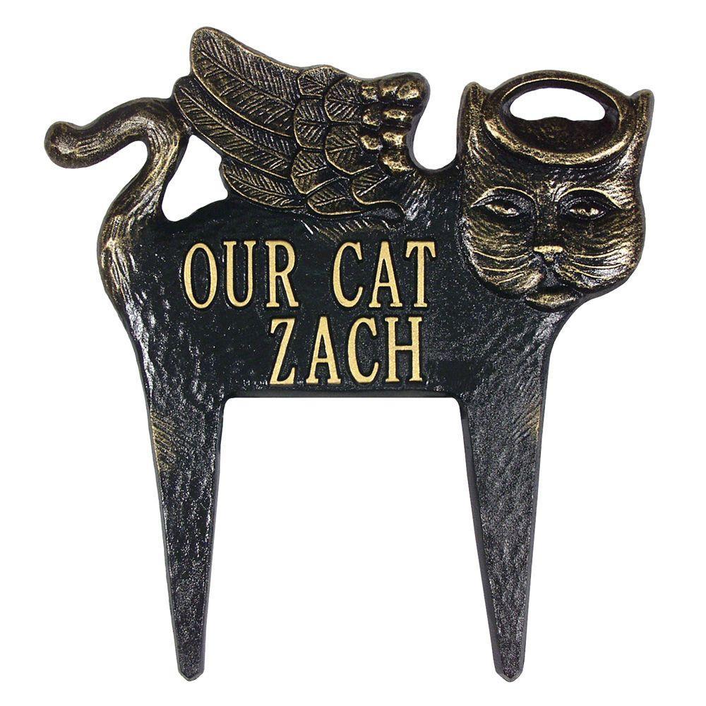 Black/Gold Angel-Cat Pet Memorial