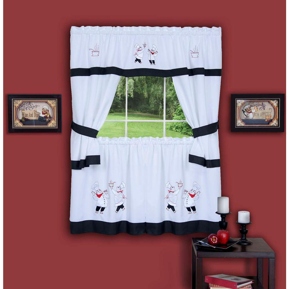 Sheer Gourmet Black Embellished Cottage Window Curtain Set 58 In W X 36 L