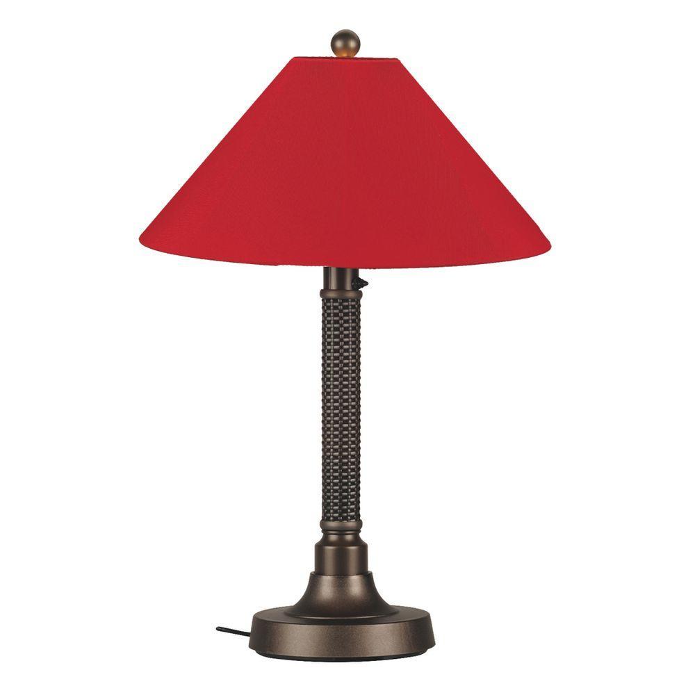 Bahama Weave 34 in. Dark Mahogany Outdoor Table Lamp with Jockey