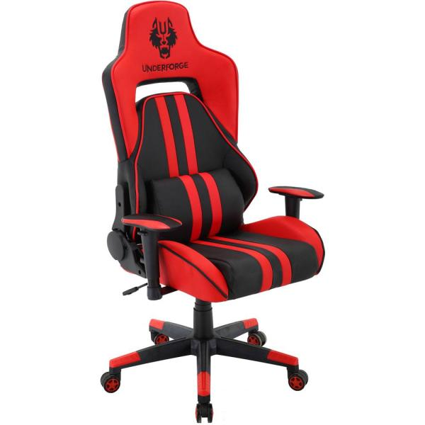 Hanover Commando Black and Red Ergonomic Gaming Chair with Adjustable Gas