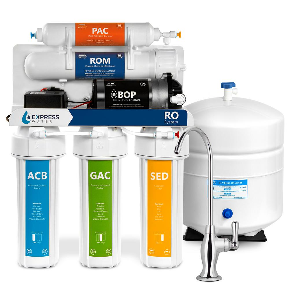 fbdcf636f62 Pressure Boost Reverse Osmosis Water Filtration System 5 Stage RO Filter  with Faucet