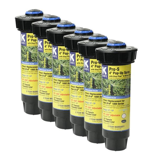 Pro-S 4 in. Spray 19 ft. Adjustable Rotary Nozzle with Stop Flow (6-Pack)