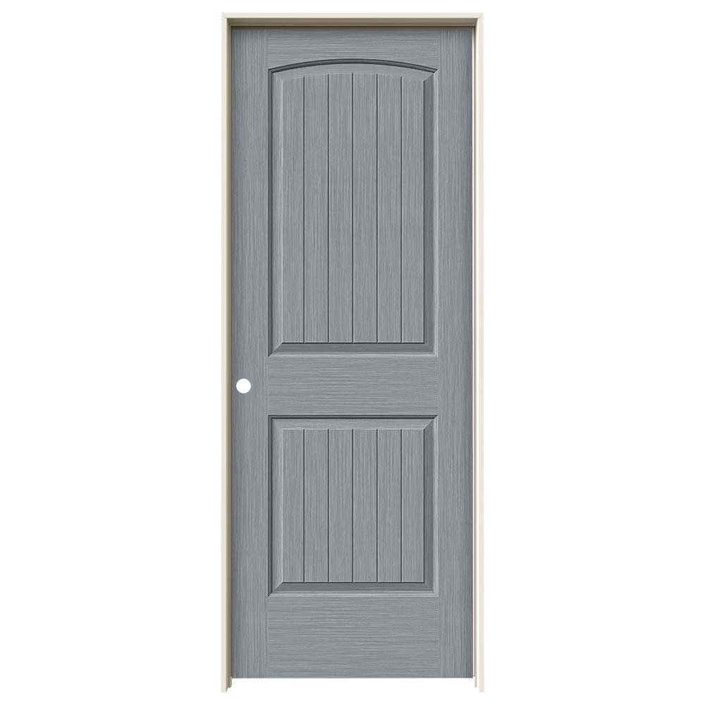 Jeld Wen 32 In X 80 In Hardwood Unfinished Flush Solid: JELD-WEN 32 In. X 80 In. Santa Fe Stone Stain Right-Hand