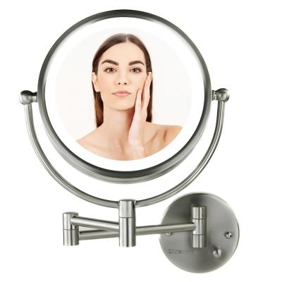 Hardwired Electrical Connection, 9-Watts,Dual-Sided 1x/7x Magnification, 8.5 in. Wall Mount Mirror (MPWD3185BR1X7X)