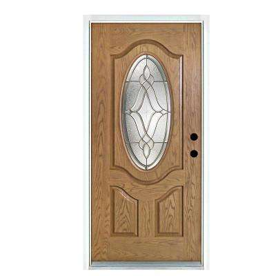 36 in. x 80 in. Distinction Light Oak Left-Hand Inswing 3/4 Oval Lite Decorative Fiberglass Prehung Front Door