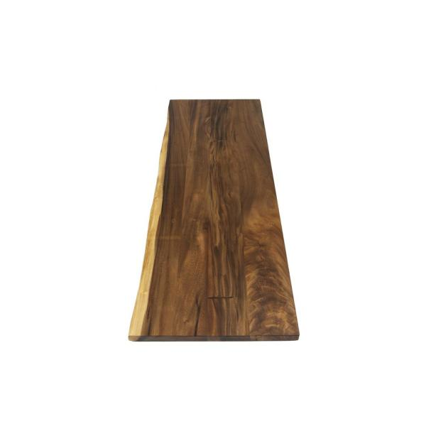 Acacia 6 ft. L x 25 in. D x 1.5 in. T Butcher Block Countertop in Oiled Acacia with Live Edge