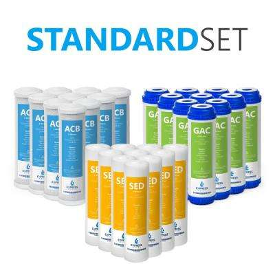 Reverse Osmosis Filter Set - 30 Filters with Carbon (GAC, ACB) Filters and Sediment (SED) Filters - 10 in. Filters