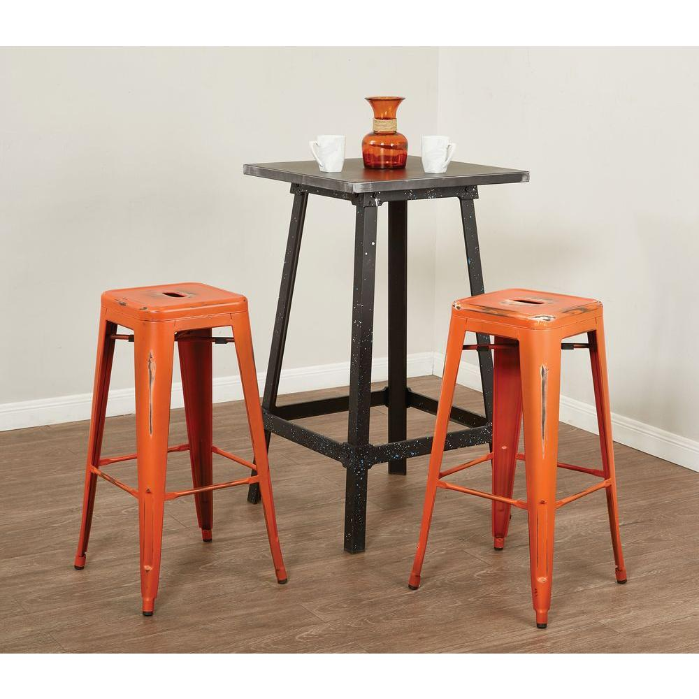 Antique Orange Bar Stool Set Of 4
