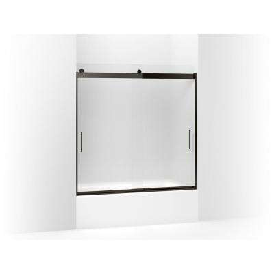 Levity 57 in. W x 59.75 in. H Frameless Sliding Tub Door with Blade Handles in Anodized Dark Bronze