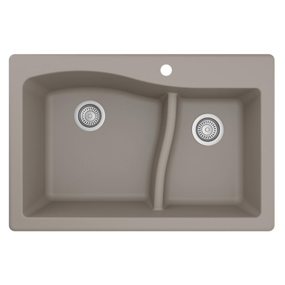 Drop-In Quartz Composite 33 in. 1-Hole 60/40 Double Bowl Kitchen Sink in Concrete
