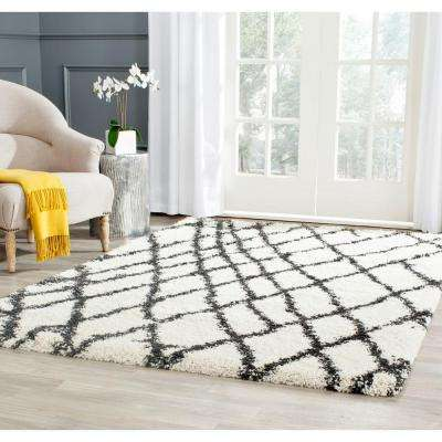 Belize Shag Ivory/Charcoal 4 ft. x 6 ft. Area Rug
