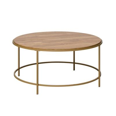 International Lux 35.984 in. Satin Gold Round Engineered Wood Coffee Table with Sindoori Mango Top