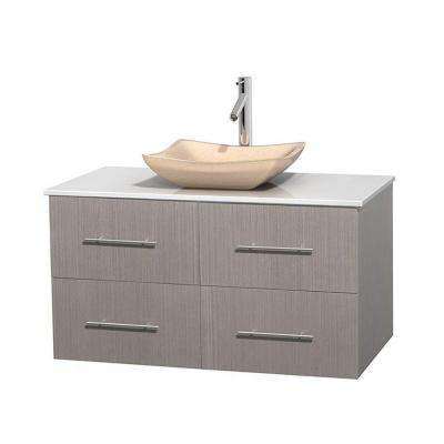 Centra 42 in. Vanity in Gray Oak with Solid-Surface Vanity Top in White and Sink